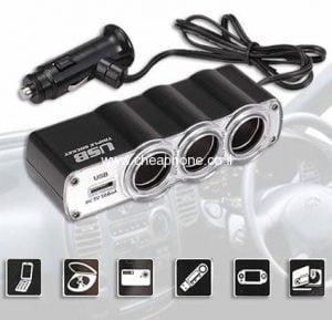 מפצל 3 יציאות מצת לרכב + חיבור USB